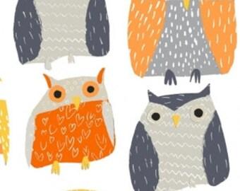 Fitted Crib Sheet Owl Woodland Vintage Orange Gray Black White Yellow