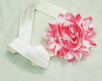 Pink  & Cream Flower Headband - Children's Accessories