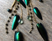 green iridescent BEETLE WING long earrings with pyrite and topaz shoulder dusters