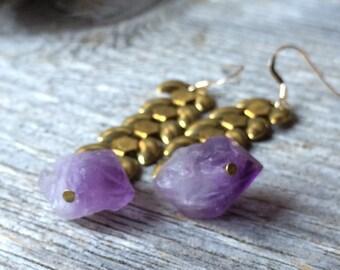 Amethyst raw crystal points purple vintage brass wheat chain earrings