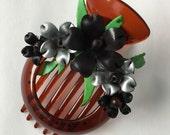matilda's big hair clip - black & silver combo