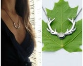 Antler necklace - sterling silver antler necklace with moonstone cabochon