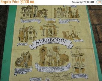 ON SALE Tea Towel Vintage Souvenir of Sherborne and District