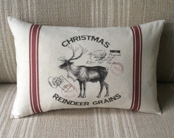 Christmas Reindeer Feed Sack Pillow Cover - Vintage Reindeer - Vintage Christmas Decorative Pillow Cover - Christmas Cushion Cover