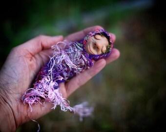 SALE Now 40% OFF - OOAK - handmade Gozob - Cocoonie, Baby sleeping, goblin/faerie/fairy in Nuno felted wrap