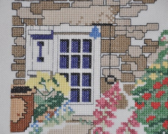 Finished / CompleteCross Stitch - Little Garden Cottage crossstitch counted cross stitch