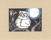 ACEO, Owl, Blue Moon,  ATC, Art Trading Card, Original Drawing, Ink, Trending, Kid Friendly
