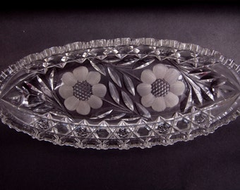 Vintage Crystal Celery Dish American Brilliant Period Cut Glass Floral Design Sunflower Long Bowl Oblong Dish ABP