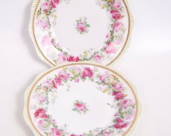 Vintage Silesia Germany Pink Rose Dessert Plates Moriage Gold Beaded Trim Relief Porcelain Hand Painted Roses