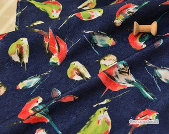 Arabesquitic Emboss Polyester Cotton Fabric, Vintage Bird on Emboss Navy Blue Fabric For Midi clothing Bag Upholstery - 1/2 yard (QT906)