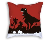 Dinosaur Pillow - Dinosaur Throw Pillow - Red Pillow - Dinosaur Cushion - T Rex - Dinosaur Decor - Dinosaur Lover Gift - Animal Pillow