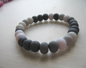 Polymer Clay Bead Bracelet- Granite, Marble, Grey and White