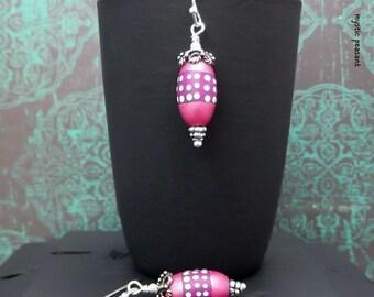Moroccan Style Polka Dot Polymer Bead Drop Dangle Earring - Violet Honeysuckle Pearl Ivory Silver Finish - Boho Gypsy Hippie Earring