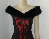 30% OFF Vintage Crimson Taffeta Faux Fur Evening Gown, by Dave and Johnny