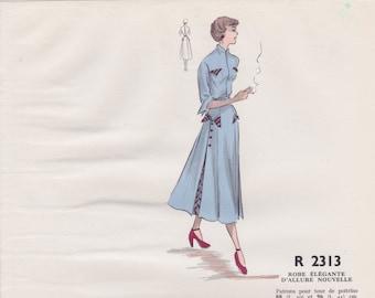 Original hand coloured illustration for French paper pattern model - 1950's Elegant blue new look dress  # R2313