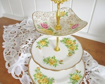 Vintage Royal Albert cake stand, yellow Tea Rose fine china, english tea rose china, excellent condition