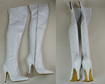 80s 90s White Leather Thigh High Pointy Stiletto Boots UK 3 / US 5.5 / EU 36