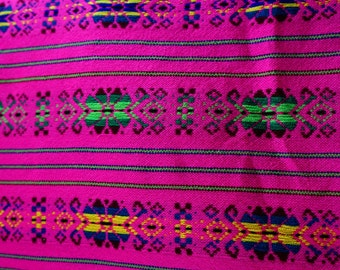 "Mexican  Pink  with flowers Fabric 31"" width by one yard"