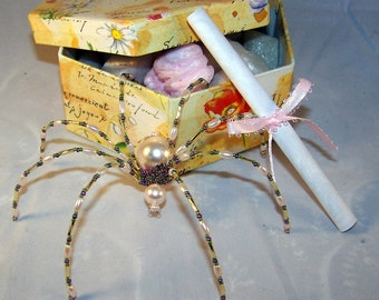 Christmas Spider Pink Glass Pearl Beaded German  Tree Ornament