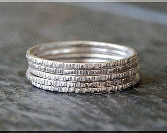 Set of 5 Sterling Silver Twig Rings, Bark Texture Rings, Stacking Rings, Thin Branch Stackable Rings, Woodland Ring, Hand Textured Ring