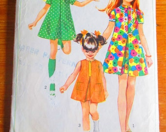Simplicity 7664 Pattern - Some Cut. Complete. 1960s Child Size 8 - Child Dress Girl Dress