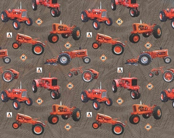 Allis Chalmers  Tractor Cotton Fabric, all-over, brown