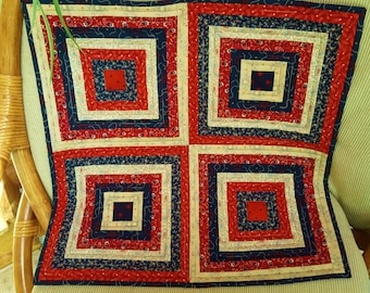 PATRIOTIC TABLE RUNNER Quilted Stars and Stripes Red Cream Blue wall hanging 4th of July Memorial Day Flag Day