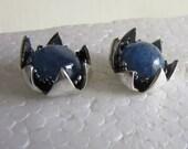 Silver Blue Kyanite Stud Earrings - Crown bezel Earrings - Handmade jewelry