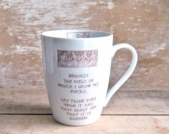Medieval Tapestry Parody Mug, Behold the Field, Garden of F@cks, Coffee Cup, Mature Humor, No F*cks Give, Don't Give, 14 oz, Field of Fuc#s