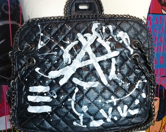 30% OFF Hand painted Rock Punk-ish black shoulder bag like the famous 255 , fun piece for the Summer