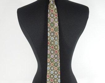 Vintage Necktie Metallic Gold on Black Asian Print