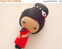 HALLOWEEN SPECIAL SALE Felt Doll - Small Doll - Girls Toy - Chinese Girl Doll