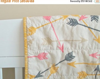 CHRISTMAS In JULY SALE Arrow Baby Quilt - Crib Quilt - Baby Blanket