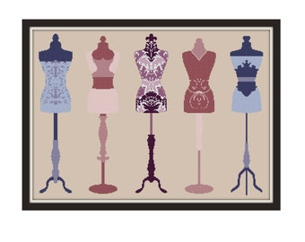 Victorian Silhouette Cross Stitch Pattern - Antique Cross Stitch pdf - Funny Cross Stitch - Vintage Dress Form Cross Stitch Pattern