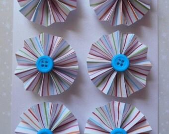 Rosette Magnets, Set of 6, Bright Stripes