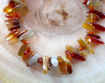 SALE!  19 Inch Rust and Gold Carnelian Stick Bead Necklace with Earrings