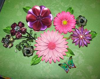 Vintage Brooch Bouquet Lot Of Enamel Flower Brooches and Earrings
