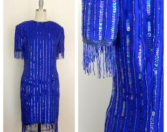 Vintage 1980s Silk Sequin Blue Dress