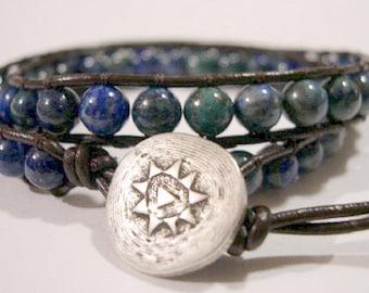 Beaded Wrap Bracelet, Beaded leather wrap - 862