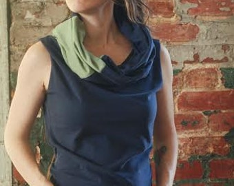 ORGANIC eco friendly tank top vest  patchwork cowl infinity hood custom handmade
