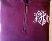 Charles River 1/4 Zip Sweatshirt with Monogram Free Shipping