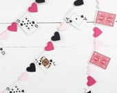 Card Party Garland - Wonderland Party Garland - Heart Garland - Off With Their Heads - Alice Party