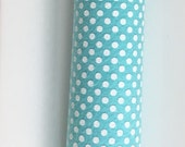 Printed Wool Blend Felt Sheets Polka Dots - Aqua with White dots -