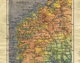 Map Of Norway Etsy - Norway map poster