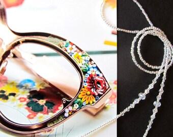 Crystal eyewear holder, Glasses beaded chain, Reading glasses holder, Sunglasses chain, Eyeglass jewelry, Handmade
