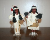 2 Native American Figurines,indian doll,indian figure,indian decor,indian decal,native american statue,native american figure,indian statue