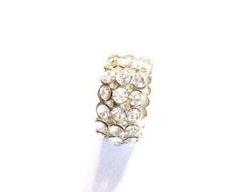 Full Band Three Rows Rhinestone Ring, Vintage Jewelry, SUMMER SALE