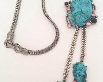 Selro Necklace Blue Devil Necklace Rhinestone Retro Vintage Jewelry, SUMMER SALE
