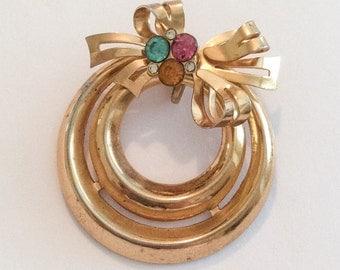 Coro Wreath Pendant, Blue Pink Amber Rhinestone, Art Deco, 1940s Vintage Jewelry CHRISTMAS IN JULY Sale