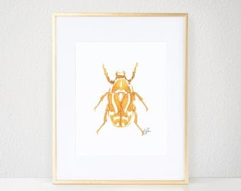 Beetle Print, Gold Bug Illustration - Inkblot Fashion Wall Art Watercolor Painting, Fiddler Beetle